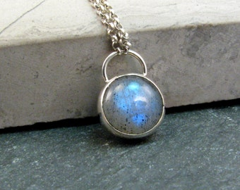 Labradorite Necklace in Sterling Silver - Labradorite Pendant - Blue Stone Necklace - Pendant Necklace