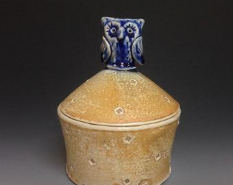 Owl Jar in Blue Glaze.  Soda Glazed Stoneware Pottery
