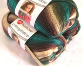 Boutique Unforgettable yarn TEALBERRY. worsted weight, Red Heart Boutique,  soft browns, creams, burgundy and teal