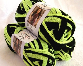 50% off - Boutique Trio ruffling yarn, NEON YELLOW, bulky weight bright yellow black scarf yarn