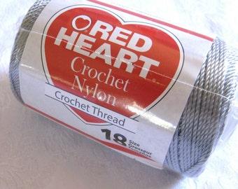 GREY 3 ply Nylon cord,  size 18, Crochet nylon thread, macrame cord, yarn, GRAY cord