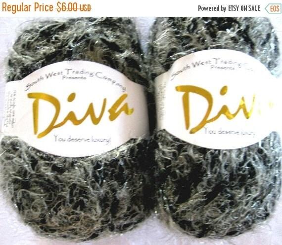 50% off - silver GREY  worsted weight yarn,  SWTC Diva Napa Valley, gray yarn, shimmery yarn
