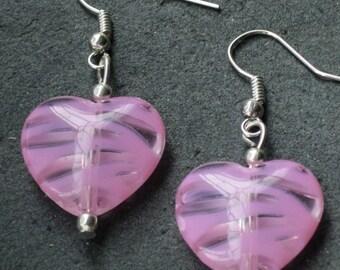 SALE - Striped Heart Earrings, Heart Earrings, Heart Jewelry, Drop Earrings, Small Heart Earrings, Fun Earrings,Gift For Her,Kitsch Earrings