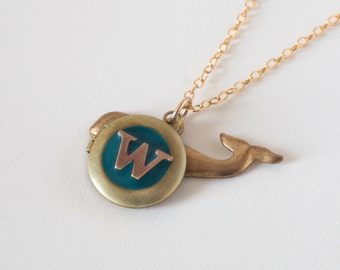 W Necklace - Monogram Necklace - Whale Necklace - Initial W - Letter W Necklace - Whale Locket - Personalized Necklace - Letter W Jewelry