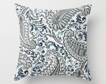 Navy Blue Pillow cover Beachy Pillow Cover Decorative Pillow Cover Nautical Pillow Ocean Pillow Paisley Pillow Lakehouse Pillow