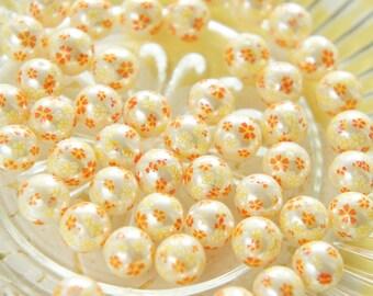 10 pcs Cherry Blossom / Sakura Printed Pearl Beads (10mm)  AZ248