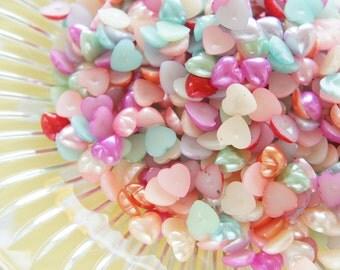 100 pcs Pearlized  Resin Gems/Rhinestones (9mm)  Heart AA032