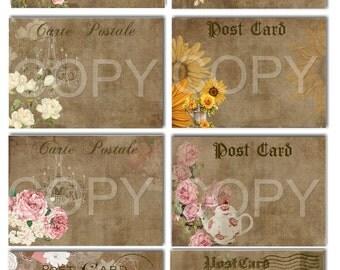 Instant Download  - Postcard Elegance - ACEO - Digital Download - Printable  Digital Collage Sheet