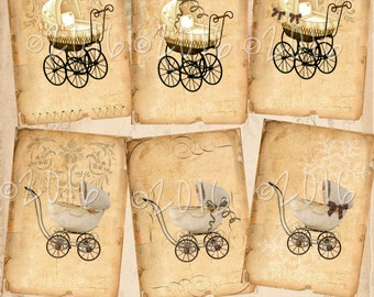 Instant Download - Vintage Baby Buggy - 2.5 x 3.5 inches - ACEO -   Printable Digital Collage Sheet - Digital Download - Printable Ephemera