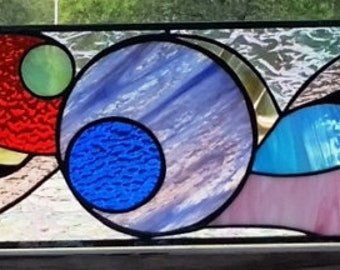"""Stained Glass Transom - """"Flowing colors"""" (TW-67)"""