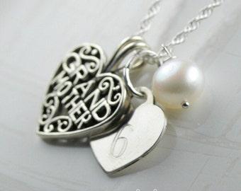 Sterling Silver Grandmother Keepsake Necklace