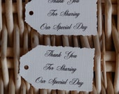 """10 x cream linen thank you for sharing our special day. deckle edge tags 2.1/4"""". x1.1/4"""" gifts,wedding,favors,party"""