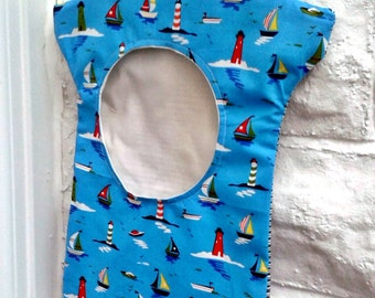 SALE - Peg Bag - Ships and Lighthouse Blue Cotton Fabric, Coastal , Cotton Lining and Wooden Hanger , Laundry Bag