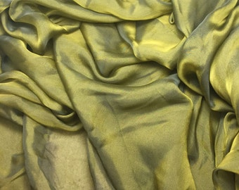 Iridescent Silk Chiffon - Gold Green - 1/3 Yard
