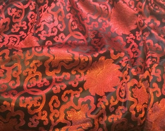 Red & Black Medallion Scroll - Faux Silk Brocade Fabric - 1/4 Yard