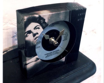 """Vintage vinyl cool box clock upcycled from 7"""" George Michael Careless Whisper valentines gift"""