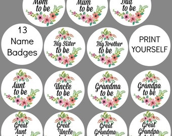 13 DIY Printable Baby Shower Badge Mom To Be Mum To Be Grandma To Be Dad To Be Instant Download Digital Print At Home Baby Shower Decoration
