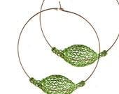 20% OFF - Wire crochet earrings GREEN earrings, Extra Large hoop earrings, BOHO hoops, Unique hoop earrings, birthday gift for her