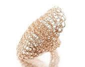 20% OFF - Statement ring, wire crochet ring, Cleopatra  ring, rose gold ring, Large ring, cocktail ring, unique crochet jewelry, Valentines