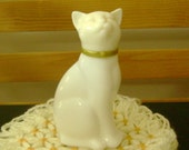 Vintage Avon White Cat with Gold Collar Bottle
