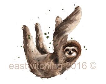 Watercolor SLOTH print, baby boys room art, wildlife paintings, cute sloth print, jungle nursery decor
