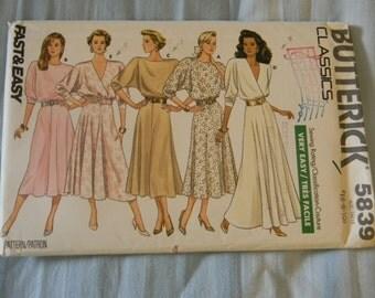 Vintage Butterick Misses Dress Pattern #5839 Uncut Size 6-10