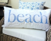 Beach Pillow Cottage Decor White Cotton Coast Sea Ocean Lumbar Cover Made to Order Your Choice of Text Colors