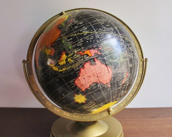 Vintage black globe with rotating base,1960s