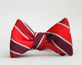 red & maroon striped bow tie // kids bow tie // self tie bow tie