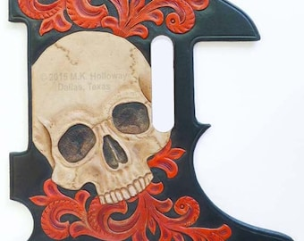Big Skull Leather Telecaster Pickguard