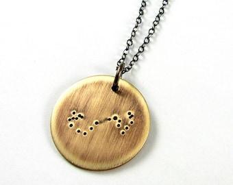 Scorpio Necklace, Scorpio Constellation Charm, Bronze Pendant, Zodiac Jewelry, October, November Birthday E. Ria Designs