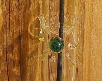 Hanging Glass Incense Burner with Emerald Green Center Sunburst Symbol 8