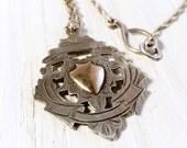 Reversable Antique Silver Engraved Fob Medal Pendant