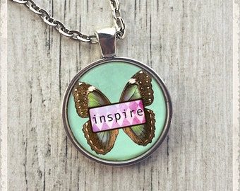 Inspire Butterfly - Photo Pendant Necklace -  Wearable Art Jewelry or Key Ring Keychain