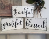 Grateful, Thankful, Blessed, Kitchen Signs, Home Decor, Thanksgiving, Set of 3 signs, 9 x 5
