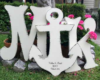 Wedding Guestbook Alternative, Anchor, Wedding Signs, Guestbooks, WOOD LETTERS, Large Wood Letters, 24 in. Letters, 26 in. Anchor