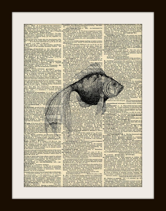 Art Print FAN TAIL GOLDFISH 8x10 Dictionary Gold Gilded Vintage Page