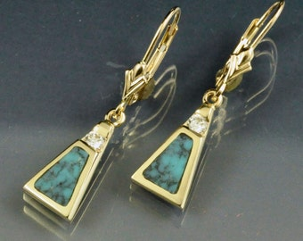 14k Gold Diamond and Turquoise Inlay Dangle Earrings