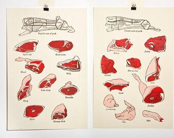 English & French Pork Butchery Poster Set - 2 Screen Prints
