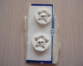 Set of 2 Vintage White Plastic Round Buttons on Card - Collection - Crafts - Sewing - #6