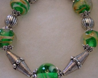 Silver  Bracelet with  Lampwork Beads