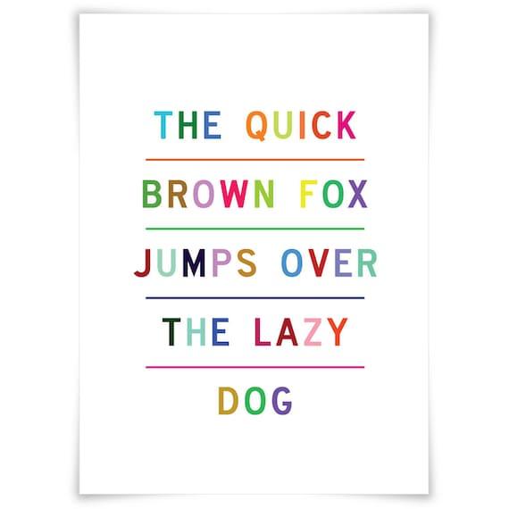 Quick Brown Fox Nursery Wall Art Print, Rainbow Colors Kids Art Print, Art for Baby's Room