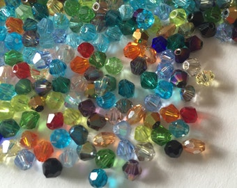 100 4mm Bicone and Faceted Mixed Color Crystal Glass Beads