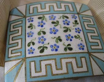 VINTAGE Blue Flower & White Enamel with Moire Ribbon Belt Buckle