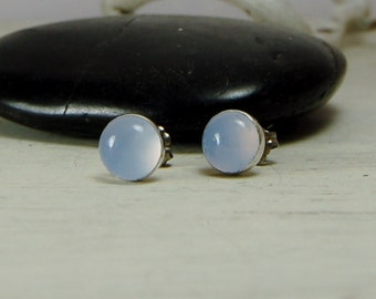 Blue Chalcedony Posts Chalcedony Studs Earrings Sterling Silver - Natural