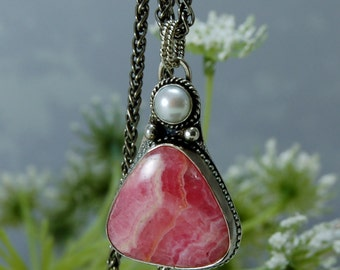 Pink RHODOCHROSITE Pendant Necklace Freshwater Mabe Pearl Necklace