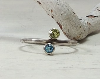 Dainty Gemstone Ring Peridot Swiss Blue Topaz Sterling Silver