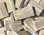 Shakespeare theme 10 Vintage Book Page Covered Matchboxes - Party Favors - Wedding Favors