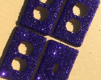 Violet Purple Glitter Switchplate Outlet Double Triple Quad Rocker Blank Cable Dimmer