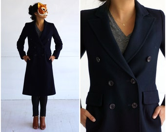 Long Fitted Vintage 1970's Navy Blue Wool Double-breasted Button-up Jacket by Fleurette | Small/Medium
